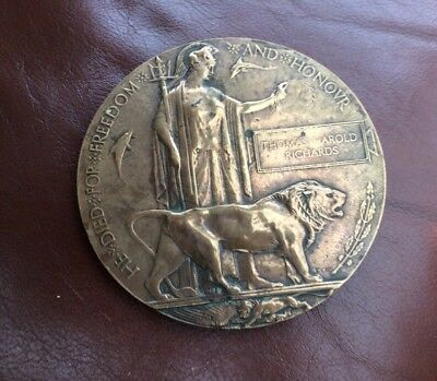 ww1 death plaque Thomas Harold Richards