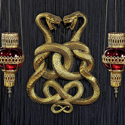 Egyptian Duel Cobras Wall Sculpture Mystic Symbol Snake Plaque NEW