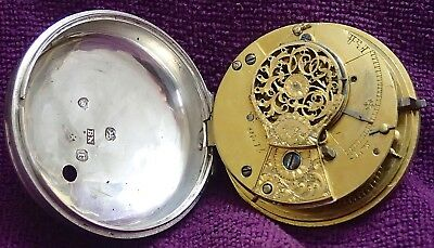 Verge Fusee Solid Silver Pocket Watch Formerly Pair Cased Good Balance 1800
