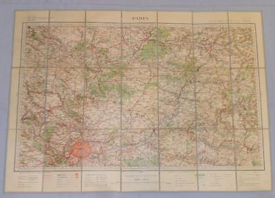 Antique French Army Linen Map Number 16 - Paris 1899-1903