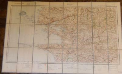 Antique French Army Linen Map - Number 21 - Brest 1895
