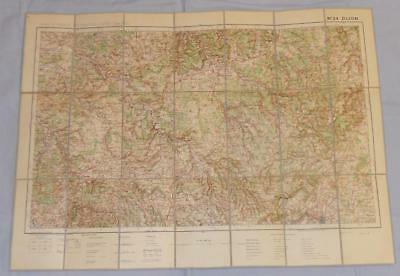 Antique French Army Linen Map - Number 34 - Dijon 1926