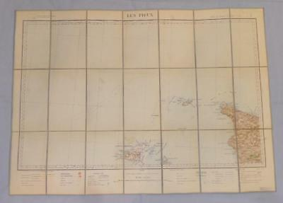 Antique French Army Linen Map Number 6 Guernsey Les Pieux 1910