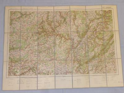 Antique French Army Linen Map No. 11 Longwy (Trier Luxembourg) 1912