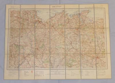 Antique French Army Linen Map - Number 22 - Rennes 1895