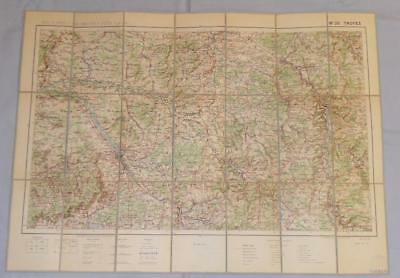 Antique French Army Linen Map - Number 26 - Troyes 1912