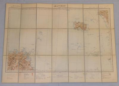 Antique French Army Linen Map Number 13 Jersey-Granville 1895 - 1910