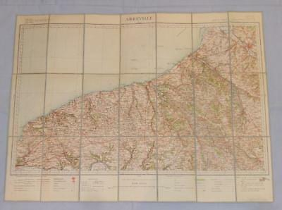 Antique French Army Linen Map Number 8 - Abbeville 1901 - 1910