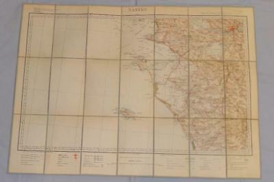 Antique French Army Linen Map - Number 37 - Nantes 1910