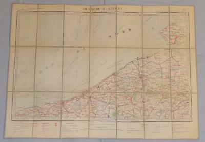 Antique French Army Linen Map - Number 2 Dunkerque-Bruges 1898