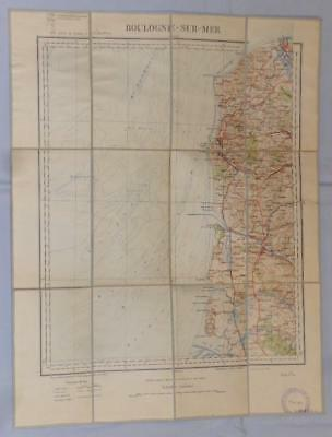 Antique French Army Linen Map - Number 3 - Boulogne 1898