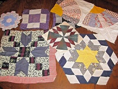 Mixed Lot of Vintage Cotton Quilt Blocks Handmade Early 1900's Fabric Patterns