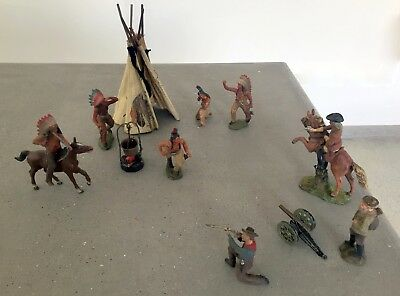 German Made Lineol Elastolin Native Indian War Figurines And Their Enemies