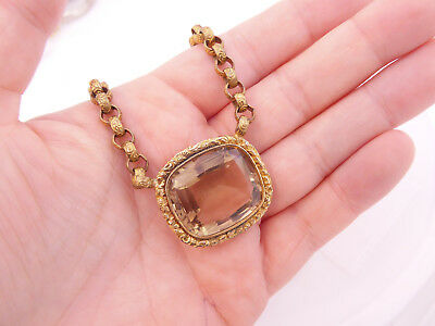 Fine large 25-30ct Citrine 18th century Georgian pinch beck pendant necklace