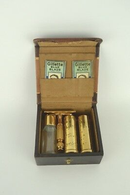 Vintage Gillette Traveling Shaving Kit w/ Blue Blade Razors Lovely Train Case