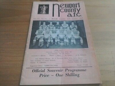 Newport County v Arsenal FA Cup Football Programme 26/1/1957.