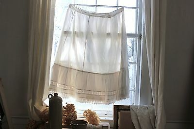 French Vintage petticoat slip white cotton c1900 crochet lace trim Large skirt