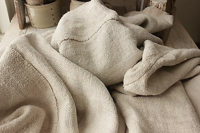 Antique HEMP 15 POUNDS THREE 3 sheets HEAVY upholstery fabric WASHED linen