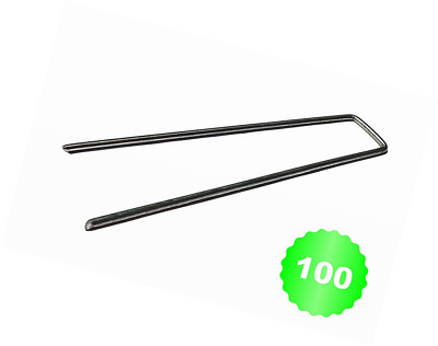 "100 Garden Staples EXTRA STRONG and GALVANIZED - 6"" / 150mm x 30mm dia 3mm"