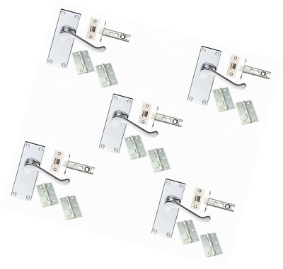 5 Sets Of Victorian Scroll Latch Door Handles Polished Chrome Hinges & Latches