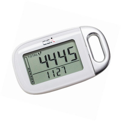 CSX Walking 3D Pedometer Calorie Step Counter with Lanyard, P361, White