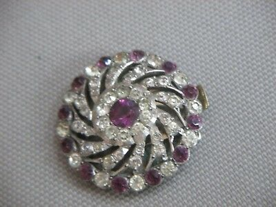 Vintage Silver Paste Amethyst And Diamond (Simulated) Clasp