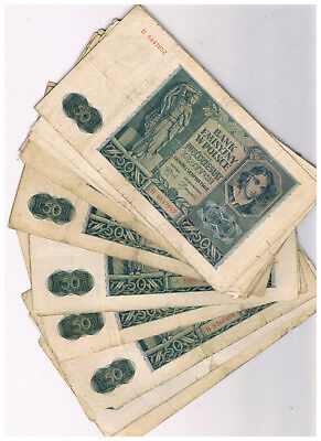 Poland P 96,p 102 22 X50 Zlotych 1940-41 Mostly Poor Condition