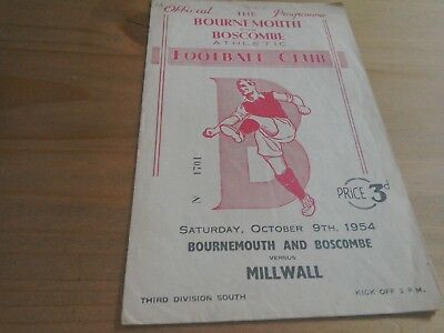 Bournemouth and Boscombe v Millwall Football Programme 9/10/1954.