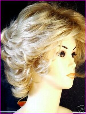 Ladies Short Wig Bob Style Curly Wispy Fashion Wig Light Blonde Full Wig UK
