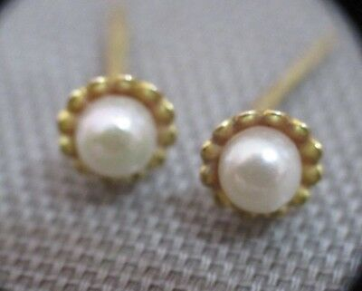 Vintage Small 9Ct Gold And Pearl Earrings