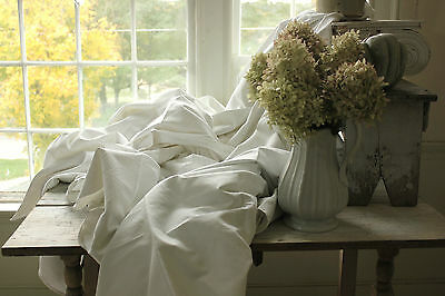 Antique French linen sheets upholstery slipcover curtain fabric TWO matching ~~