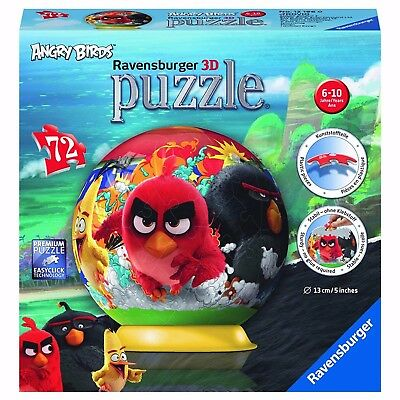 Ravensburger - 72pc ANGRY BIRDS 13cm 3D Globe Puzzle Age 6-10years