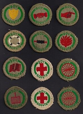 1930's - British Boy Scout - Proficiency Badge Collection - Brown Backs X 12