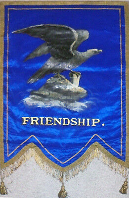 1800's -Odd Fellows/IOOF- Victorian Painted Bald Eagle Silk Masonic Lodge Banner