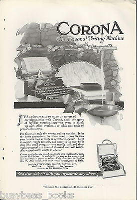 1917 CORONA typewriter advertisement, Corona portable, home fireplace