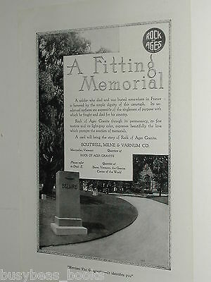 1920 Rock of Ages advertisement page, WWI Soldiers Memorial monument