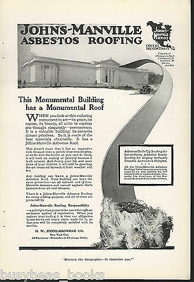 1917 JOHNS-MANVILLE advertisement, ASBESTOS Roof at Cleveland Museum of Art