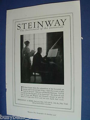 1920 Steinway Piano advertisement page, Steinway & Sons, New York