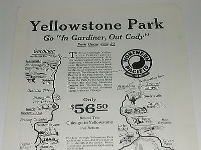 1924 Northern Pacific Railway advertisement, Yellowstone Park
