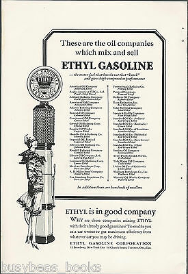 1928 ETHYL Gasoline advertisement, 1920's flapper girl with glass cylinder gas p