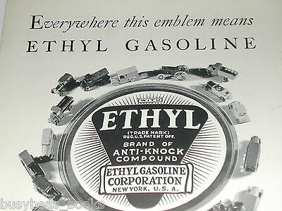 1930 Ethyl Gasoline ad with metal toy car & trucks