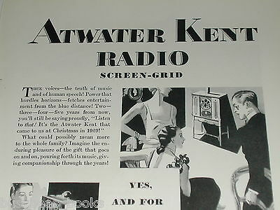 1929 ATWATER KENT advertisement, A-K radio, Screen-Grid Tubes