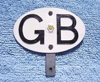 VINTAGE 1960s AA GREAT BRITAIN TOURING AUTOMOBILE BADGE -OLD GB CAR PLATE/EMBLEM