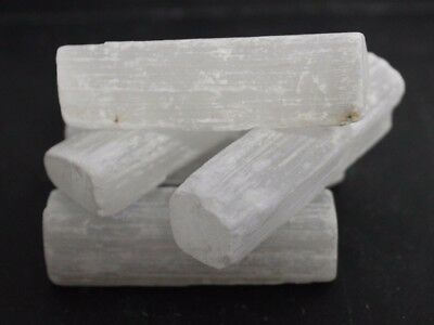 "5 x Selenite Log 2 - 2.5"" CHUNKY Rough Natural Mineral Specimen Crystal Stick"