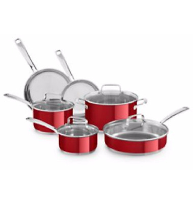 KitchenAid KC2SS10PC, 10-Piece Candy Apple Pearl Stainless Steel Cookware Set