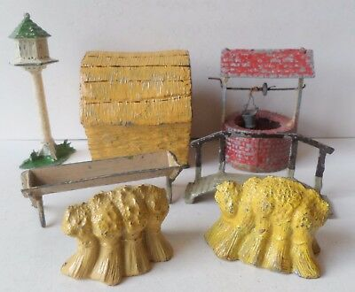 BRITAINS/OTHERS PRE-WAR PAINTED LEAD FARM DOVECOTE-HAYSTACK-FOOTBRIDGE-WELL Etc