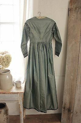 Antique French woman's silk brocade dress Victorian era 19th century blue