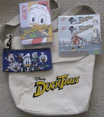 DUCK TALES DISNEY HD PROMO CANVAS MESSENGER BAG PENCIL CASE PADS McDUCK PATCHES