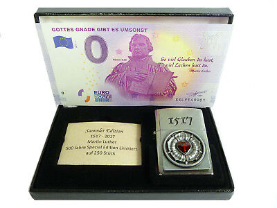 Zippo 500 Jahre Martin Luther Rose Limited Edition xxx/250 + 0 Euro Schein Gnade