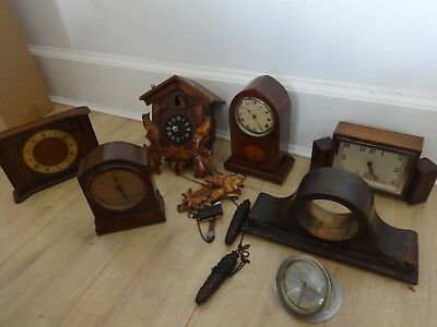 1930/40s vintage small Mantle Clocks X 5 + cuckoo clock for spares or repair